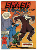 Golden Age (1938-1955):Adventure, Smash Comics #41 Mile High pedigree (Quality, 1943) Condition: NM-. This Edgar Church copy has brilliant cover colors and a ...