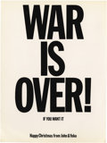 "Music Memorabilia:Memorabilia, John Lennon's Peace Campaign ""WAR IS OVER!"" Postcards. Two original""WAR IS OVER!"" postcards from the peace campaign of John... (Total:1 Item)"