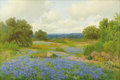 Texas:Early Texas Art - Impressionists, PORFIRIO SALINAS (1910-1973). Bluebonnet Field San Antonio,Texas, early-mid 1930s. Oil on canvas. 20 x 30 inches (50.8 ...