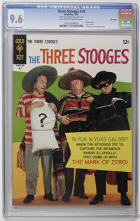 Three Stooges #34 File Copy (Gold Key, 1967) CGC NM+ 9.6 Off-white to white pages. Photo cover. Zorro satire. Little Mon...