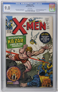 X-Men #10 (Marvel, 1965) CGC VF/NM 9.0 White pages. First Silver Age appearances of Ka-Zar and Zabu the tiger. First app...