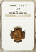 Flying Eagle Cents: , 1858 1C Small Letters AU55 NGC. NGC Census: (0/3). PCGS Population(42/650). Numismedia Wsl. Price for problem free NGC/PC...