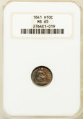 Seated Half Dimes: , 1841 H10C MS65 NGC. NGC Census: (26/12). PCGS Population (10/14).Mintage: 1,150,000. Numismedia Wsl. Price for problem fre...