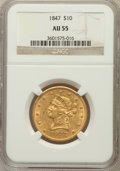 Liberty Eagles: , 1847 $10 AU55 NGC. NGC Census: (169/226). PCGS Population (35/46).Mintage: 862,258. Numismedia Wsl. Price for problem free...