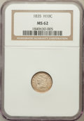 Bust Half Dimes: , 1835 H10C Large Date, Large 5C MS62 NGC. NGC Census: (103/385).PCGS Population (72/221). Mintage: 2,760,000. Numismedia Ws...