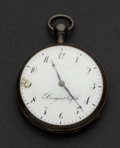 Timepieces:Pocket (pre 1900) , Breguet & Fils Silver 1/4 Hour Pump Repeater For Repair. ...