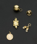 Estate Jewelry:Other , Five 14k Gold Charms. ... (Total: 5 Items)