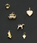 Estate Jewelry:Other , Six 14k Gold Charms. ... (Total: 6 Items)