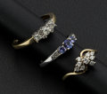 Estate Jewelry:Rings, Two Diamond & One Tanzanite Gold Rings. ... (Total: 3 Items)