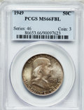 Franklin Half Dollars: , 1949 50C MS66 Full Bell Lines PCGS. PCGS Population (185/0). NGCCensus: (51/1). Numismedia Wsl. Price for problem free NG...