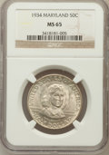 Commemorative Silver: , 1934 50C Maryland MS65 NGC. NGC Census: (1327/577). PCGS Population(1364/606). Mintage: 25,015. Numismedia Wsl. Price for ...