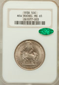 Commemorative Silver: , 1938 50C New Rochelle MS65 NGC. CAC. NGC Census: (989/624). PCGSPopulation (1512/1031). Mintage: 15,266. Numismedia Wsl. P...