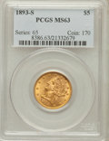 Liberty Half Eagles: , 1893-S $5 MS63 PCGS. PCGS Population (103/31). NGC Census:(126/28). Mintage: 224,000. Numismedia Wsl. Price for problem fr...