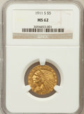 Indian Half Eagles, 1911-S $5 MS62 NGC....