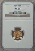 Gold Dollars: , 1883 G$1 MS65 NGC. NGC Census: (45/131). PCGS Population (79/198).Mintage: 10,800. Numismedia Wsl. Price for problem free ...