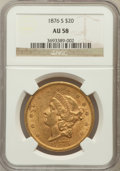 Liberty Double Eagles: , 1876-S $20 AU58 NGC. NGC Census: (2187/1732). PCGS Population(686/1405). Mintage: 1,597,000. Numismedia Wsl. Price for pro...