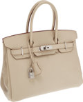 Luxury Accessories:Bags, Hermes 30cm Parchment Swift Leather Birkin Bag with PalladiumHardware. ...