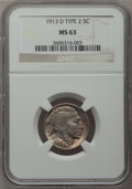 Buffalo Nickels: , 1913-D 5C Type Two MS63 NGC. NGC Census: (145/324). PCGS Population(248/516). Mintage: 4,156,000. Numismedia Wsl. Price fo...