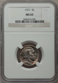 Buffalo Nickels: , 1927 5C MS65 NGC. NGC Census: (302/96). PCGS Population (673/287).Mintage: 37,981,000. Numismedia Wsl. Price for problem f...
