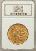 Liberty Double Eagles: , 1874 $20 AU53 NGC. NGC Census: (48/817). PCGS Population (43/434).Mintage: 366,800. Numismedia Wsl. Price for problem free...