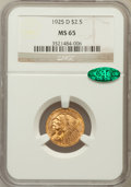 Indian Quarter Eagles: , 1925-D $2 1/2 MS65 NGC. CAC. NGC Census: (905/46). PCGS Population(498/31). Mintage: 578,000. Numismedia Wsl. Price for pr...
