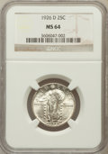 Standing Liberty Quarters: , 1926-D 25C MS64 NGC. NGC Census: (953/259). PCGS Population(1438/210). Mintage: 1,716,000. Numismedia Wsl. Price for probl...