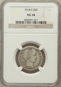Barber Quarters: , 1914-S 25C VG10 NGC. NGC Census: (15/94). PCGS Population (69/238).Mintage: 264,000. Numismedia Wsl. Price for problem fre...