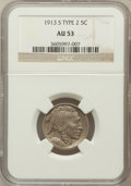 Buffalo Nickels: , 1913-S 5C Type Two AU53 NGC. NGC Census: (35/992). PCGS Population(53/1455). Mintage: 1,209,000. Numismedia Wsl. Price for...