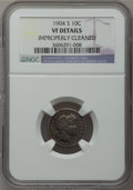 Barber Dimes: , 1904-S 10C -- Improperly Cleaned -- NGC Details. VF. NGC Census:(4/80). PCGS Population (10/151). Mintage: 800,000. Numism...