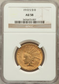Indian Eagles: , 1910-S $10 AU58 NGC. NGC Census: (603/471). PCGS Population(403/622). Mintage: 811,000. Numismedia Wsl. Price for problem ...