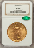 Saint-Gaudens Double Eagles: , 1914-S $20 MS66 NGC. CAC. NGC Census: (145/1). PCGS Population(101/0). Mintage: 1,498,000. Numismedia Wsl. Price for probl...