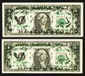 Error Notes:Ink Smears, Fr. 1921-F $1 1995 Federal Reserve Notes. Two Examples. Extremely Fine or Better.. ... (Total: 2 notes)