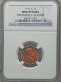 Lincoln Cents: , 1911-S 1C Brown -- Improperly Cleaned -- NGC Details. UNC. NGCCensus: (1/158). PCGS Population (1/199). Mintage: 4,026,000...