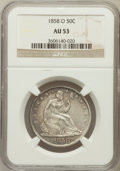 Seated Half Dollars: , 1858-O 50C AU53 NGC. NGC Census: (22/191). PCGS Population(45/156). Mintage: 7,294,000. Numismedia Wsl. Price for problem ...