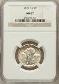 Standing Liberty Quarters: , 1924-D 25C MS62 NGC. NGC Census: (36/1112). PCGS Population(54/1356). Mintage: 3,112,000. Numismedia Wsl. Price for proble...