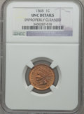 Indian Cents: , 1868 1C Brown -- Improperly Cleaned -- NGC Details. UNC. NGCCensus: (1/196). PCGS Population (2/121). Mintage: 10,266,500....