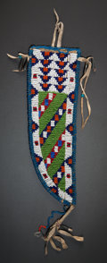 American Indian Art:Beadwork and Quillwork, A SIOUX BEADED HIDE KNIFE SHEATH. c. 1910...