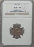Lincoln Cents: , 1919-D 1C MS63 Brown NGC. NGC Census: (42/47). PCGS Population(48/72). Mintage: 57,154,000. Numismedia Wsl. Price for prob...