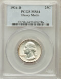 Washington Quarters, 1934-D 25C Heavy Motto MS64 PCGS. PCGS Population (166/61). ...