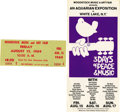 "Music Memorabilia:Tickets, Woodstock Music and Art Fair Flyer and Unused Ticket (1969). Anoriginal, 4"" x 7.25"" purple and black-on-white flyer, in VG...(Total: 2 Item)"