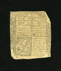 Colonial Notes:Connecticut, Connecticut June 7, 1776 1s/3d. Slash cancelled and with most ofthe note still intact this scarcer colonial note has been ...