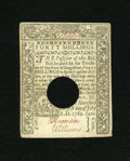 Colonial Notes:Connecticut, Connecticut July 1, 1780 40s Choice About New. This lovely note isthe highest denomination from the final issue for this co...