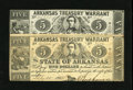 Obsoletes By State:Arkansas, Little Rock, AR- Treasury Warrant $5 March 28, 1862 and a $5 July 25, 1862. Both notes are pleasing and wholly original note... (Total: 2 notes)