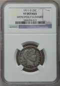 Barber Quarters: , 1911-D 25C -- Improperly Cleaned -- NGC Details. VF. NGC Census:(2/72). PCGS Population (8/128). Mintage: 933,600. Numisme...