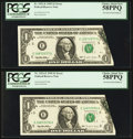 Error Notes:Foldovers, Fr. 1921-E $1 1995 Federal Reserve Notes. Two Consecutive Examples.PCGS Choice About New 58PPQ.. ... (Total: 2 notes)