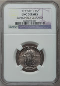 Standing Liberty Quarters: , 1917 25C Type One -- Improperly Cleaned -- NGC Details. UNC. NGCCensus: (3/1132). PCGS Population (19/1558). Mintage: 8,74...
