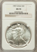Modern Bullion Coins: , 1987 $1 Silver Eagle MS70 NGC. NGC Census: (302). PCGS Population(10). Mintage: 11,442,335. Numismedia Wsl. Price for prob...
