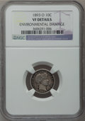 Barber Dimes: , 1893-O 10C -- Environmental Damage -- NGC Details. VF. NGC Census:(1/135). PCGS Population (7/161). Mintage: 1,760,000. Nu...