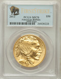 Modern Bullion Coins, 2013 G$50 One-Ounce American Buffalo, First Strike MS70 PCGS. Ex:.9999 Fine. PCGS Population (653). NGC Census: (0)....