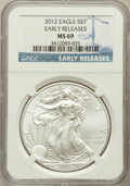 Modern Bullion Coins, 2012 $1 Silver Eagle, Early Releases MS69 NGC. PCGS Population(6305/8859)....
